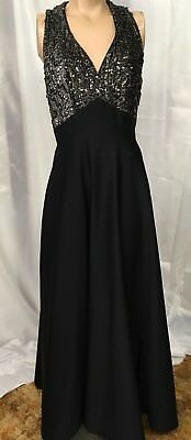 Vintage Black Knit Evening Gown with Sequined Bodice
