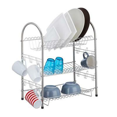 Relaxdays 3 Tier Dish Drainer Stainless Steel Rack Compact Robust