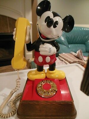 Vintage 1976 Disney Mickey Mouse Rotary Dial Telephone Vibrant Color