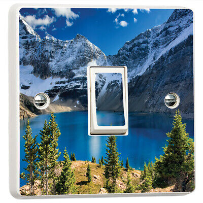 Mountains Forest Fog Lakes 3D Light Switch Sticker Cover Vinyl Skin Wall Decal
