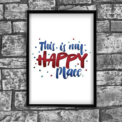 Happy Motivational Inspirational Positive Thoughts Quote Poster Print Wall 63