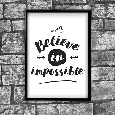 Motivational Inspirational Positive Thoughts Quote Believe Poster Print Wall 91