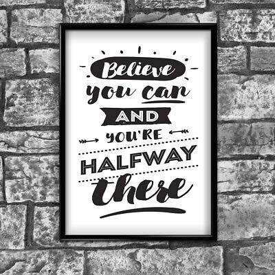 Motivational Inspirational Positive Thoughts Quote Believe Poster Print Wall 102