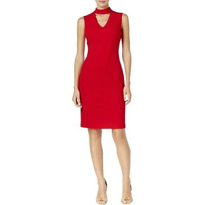 Taylor Womens Twist Neck Crepe Halter Dress In Red Size 10 4999