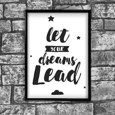Motivational Inspirational Positive Thoughts Quote Dreams Poster Print Wall 178