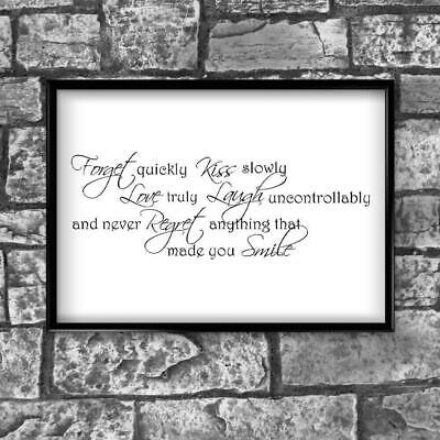 Motivational Inspirational Positive Thoughts Quote Forget Poster Print Wall 206