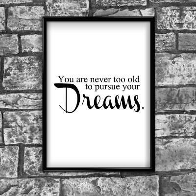 Motivational Inspirational Positive Thoughts Quote Dreams Poster Print Wall 218