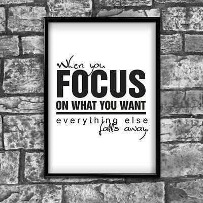 Motivational Inspirational Positive Thoughts Quote Focus Poster Print Wall 227