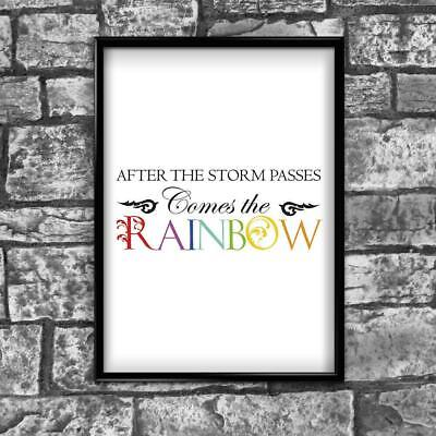 Motivational Inspirational Positive Thoughts Quote Rainbow Poster Print Wall 253