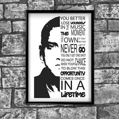 Motivational Inspirational Positive Thoughts Quote Eminem Poster Print Wall 267