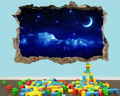 Moon And Stars Night Sky Wall Sticker 3D Look - Sunset Boys Bedroom Lounge