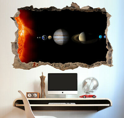 Planets in Space Solar System Window Poster 3D Wall Sticker Vinyl Decal Mural
