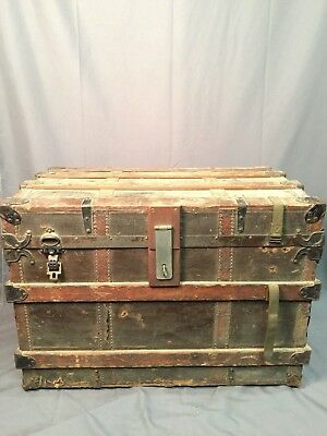Clinton Wall Trunk Antique Steamer Chest Coffee Table Made In USA