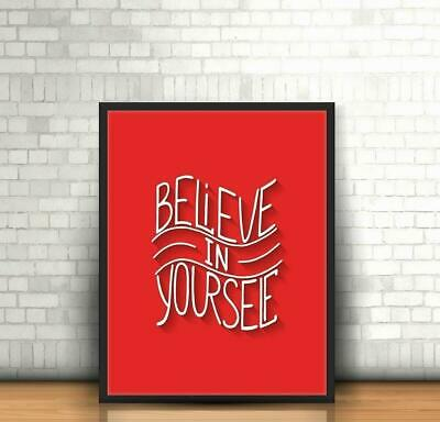 Believe Yourself Black Ballpoint Pen Inspirational Quote Motivation Gift #16966