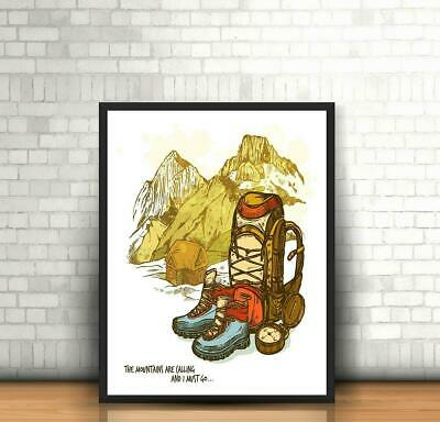 The Mountains are Calling Travel Vintage Retro Holiday Visit Tourist Poster Wall