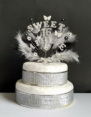 Butterfly, Flower double name, feather birthday cake topper, sweet 16 (any age)