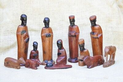 Hand Carved Tanzanian Nativity made from Ebony and Rosewood, 12 pieces