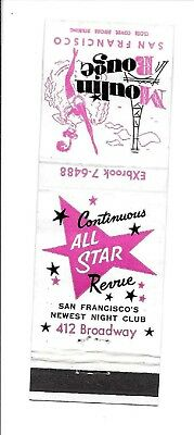 Vintage Matchbook Cover Advertising Moulin Rouge All Star Revue in S.F., Calif.