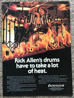 RICK ALLEN - LUDWIG DRUMS 1985 full page USA magazine ad DEF LEPPARD