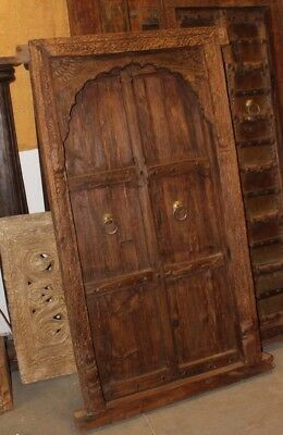 Antique Indian Jharokha Teak Wood Window Terrace Arched Solid Door Hand Carved