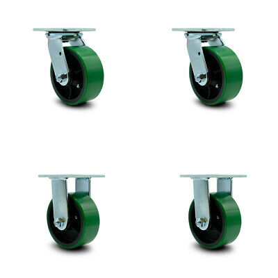 "/& Swivel 8/"" x 2/"" Polyurethane On Cast Iron 2EA - Rigid Green 2EA"