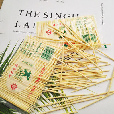200Pcs Dining Room Wooden Bamboo Skewers Disposable Toothpick Sticks Fruit Plate