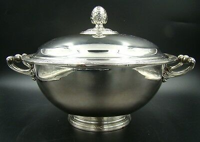 19th Century French Christofle Rubans Silver Plated Large Soup Tureen Mint