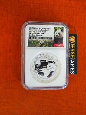2018 60G China Proof Silver Panda Ngc Pf70 First Day Issue Santa Clara Coin Expo