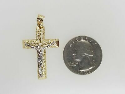 Free Chain Real 14k Yellow White Gold Vintage Jesus Crucifix Cross Pendant Charm