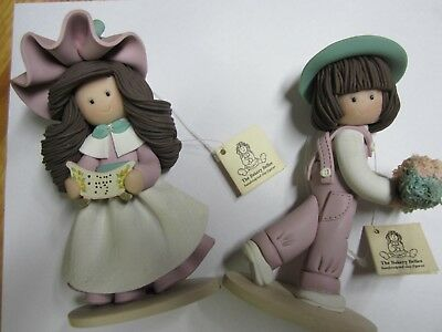 2 Vintage Handcrafted Bakery Belles Clay Figures. 5.5 inches tall