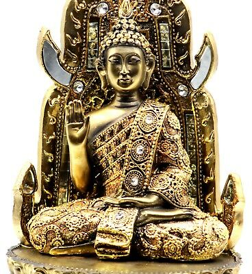 11 Inches Large Brass Color Buddha Statue Figurine Perfect for Home Office Decor
