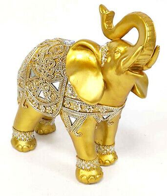 "Feng Shui 8"" (H) Brass Color Elegant Elephant Statue with Trunk Facing Upwards"
