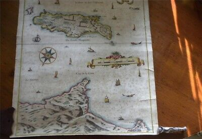 Antique map waters of Cannes / Cap de la Croix / Isles St. Margueritte & Honorat