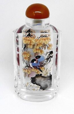 Perfume Snuff Bottle Chinese Inside Painted Thick Glass Cork Cap Hand Painted