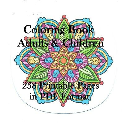 CD - Coloring Book for Adults and Children - 258 Printable pages