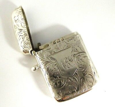 Antique Hallmarked 1902 Solid Sterling Silver Vesta Monogrammed AEY Layby AVAIL