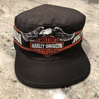 VINTAGE HARLEY DAVIDSON Painters Hat Black Orange Classic Logo USA ... 2f7f6339cd4