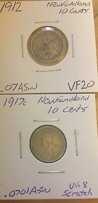 Lot of 2 Newfoundland Silver 10 Cents KM#14