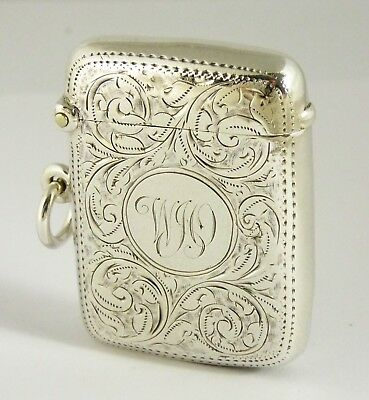 Antique Hallmarked 1899 Solid Sterling Silver Vesta Monogrammed WJO  Layby AVAIL
