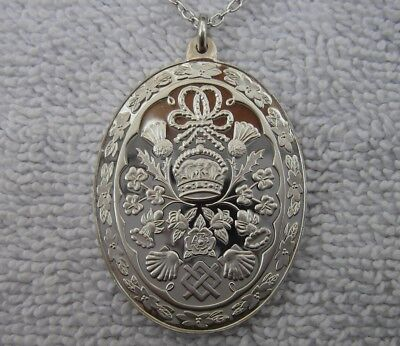 Fine 1981 CHARLES & DIANA Royal Wedding STERLING PENDANT NECKLACE-Franklin Mint