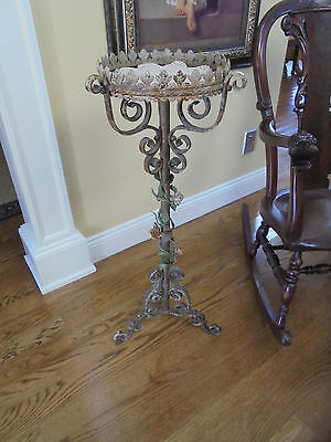 Antique Hand Wrought Iron Architectural Pedestal Plant Stand Statue Support