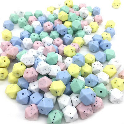 Loose Speckle Hexagon Silicone Teething Beads Baby Nursing Chewable Teether Toys