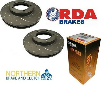 RDA FRONT DIMPLED/SLOTTED ROTORS+RDA PADS suit TOYOTA LANDCRUISER FZJ80R