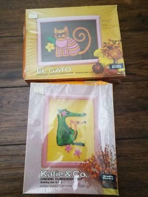 STUDIO TWELVE Crewel Embroidery Kit NIB 2 boxes Cat Kangaroo