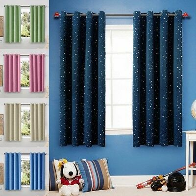 "1Pc Star Printed Room Darkening Blackout Short Curtain Ring Top Blind 39x47"" Lot"