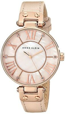 Anne Klein Women's 10/9918RGLP Rose Gold-Tone Watch w/ Leather Band AK Watch NEW