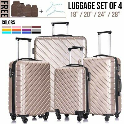 3/4PCS Luggage Set Travel Bag Trolley ABS Spinner Hard Shell Business Suitcase
