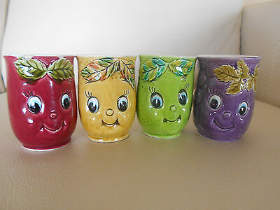 Set FOUR Porcelain FRUIT/BERRY Beverage CUPS/MUGS, Made In Japan, BERRY FACES!