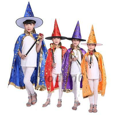 Halloween Children Costumes Witch Wizard Cloak Cape Hat Boys Girls Cosplay Party