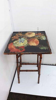 Bamboo table with colorful top
